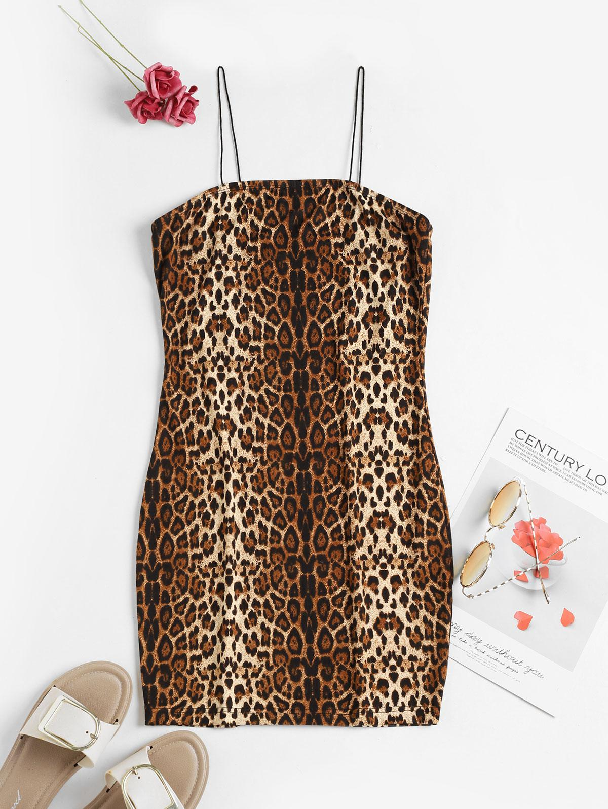 ZAFUL Leopard Cami Bodycon Dress фото