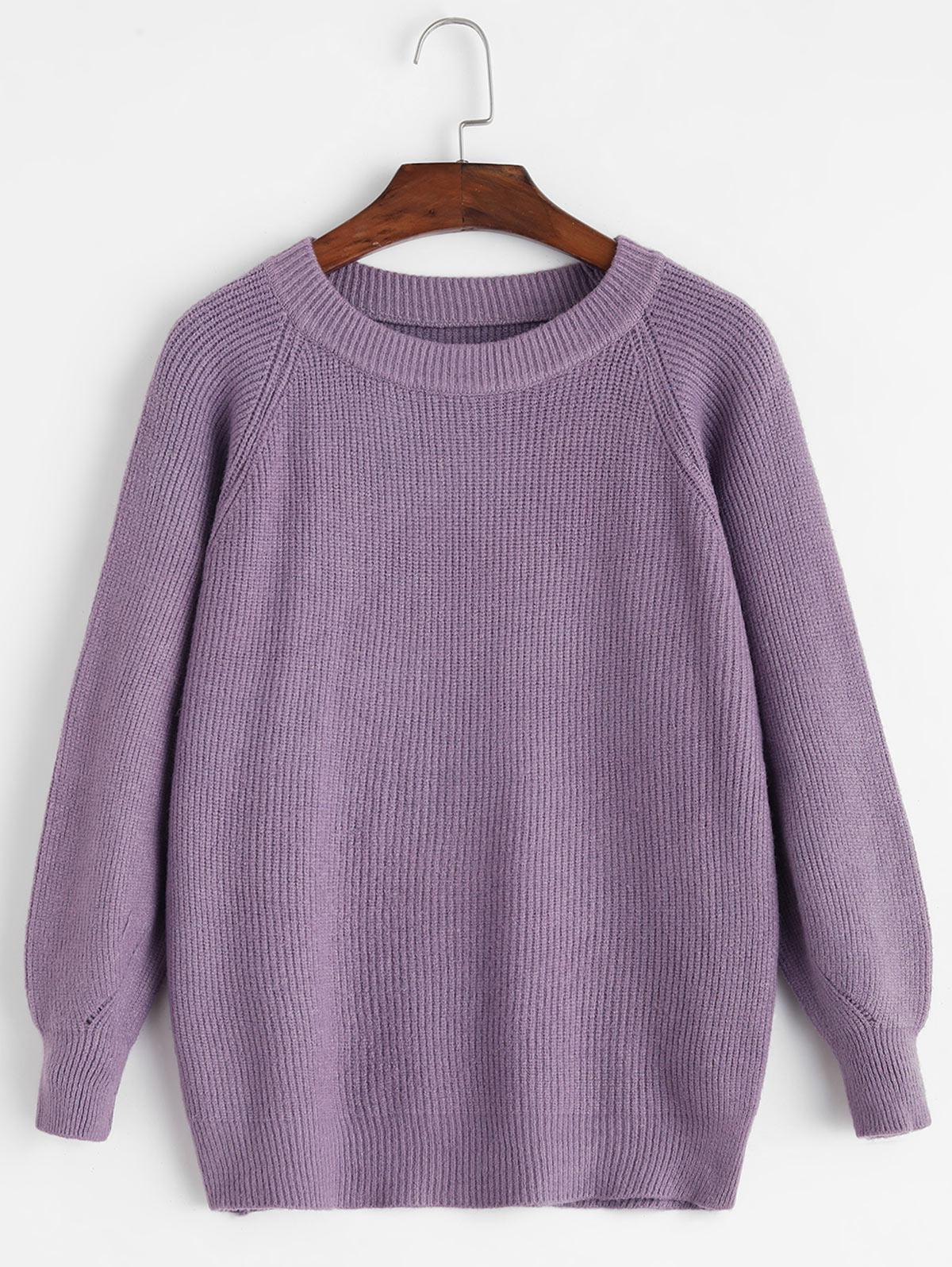 Raglan Sleeve Crew Neck Pointelle Knit Sweater