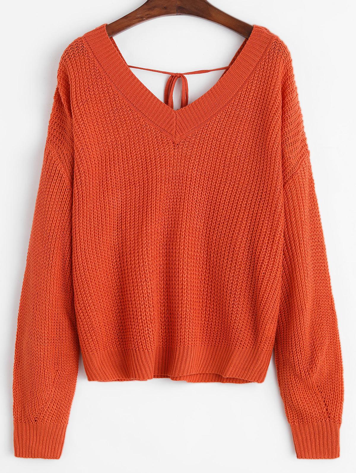Solid Tie Back V Neck Jumper Sweater
