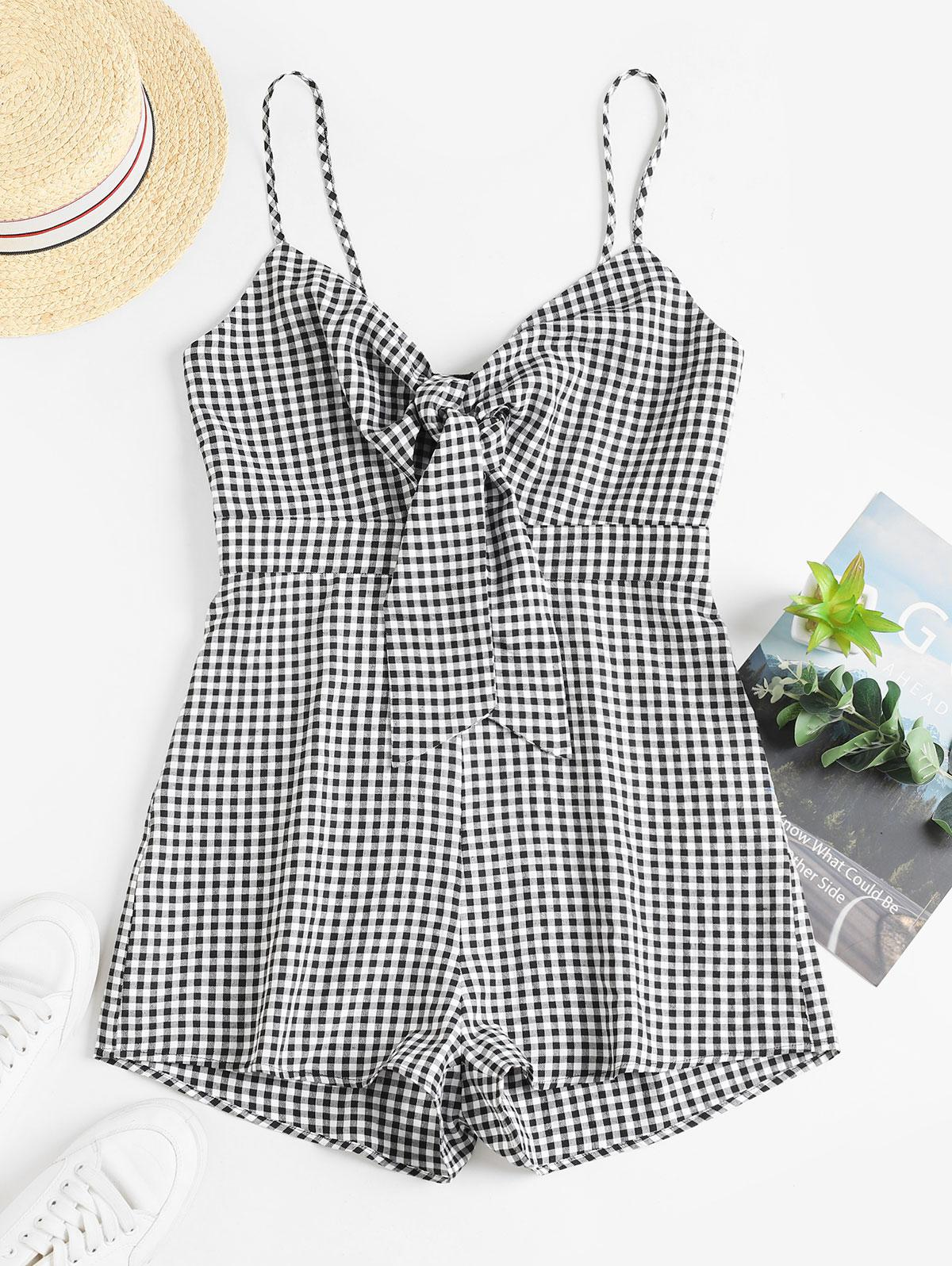 ZAFUL Gingham Tie Front Cami Romper