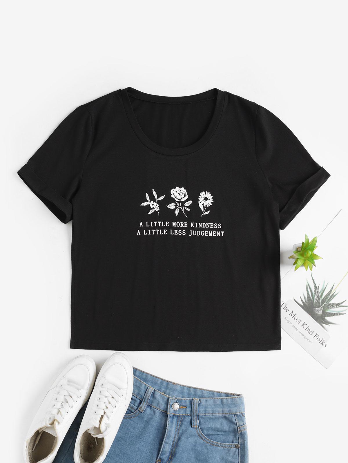 ZAFUL Floral Slogan Graphic Cuffed Sleeve Basic Tee фото