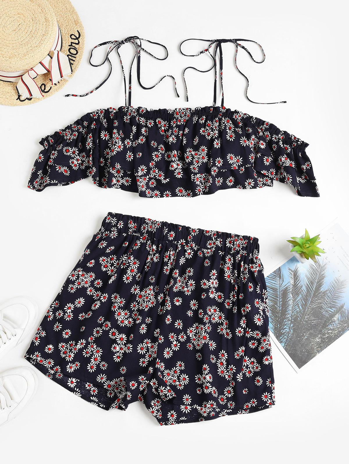 ZAFUL Floral Print Self Tie Cropped Top And Shorts Set фото