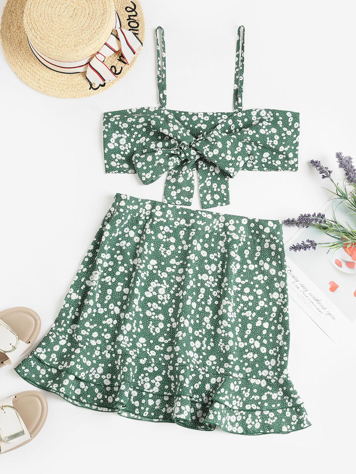 ZAFUL Ditsy Floral Tie Front Layered Ruffles Two Piece Dress фото