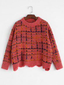Checked Wave Hem Sweater
