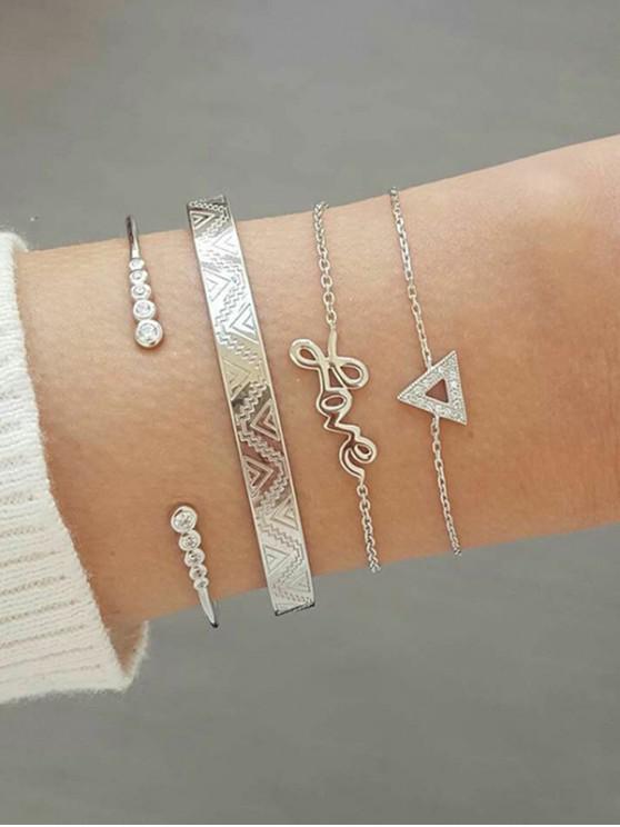 unique 4Pcs Geometric Letter Bracelet Set - SILVER