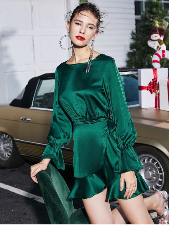 hot ZAFUL Christmas Overlap Ruffles Tie Waist Long Sleeve Dress - DEEP GREEN XL