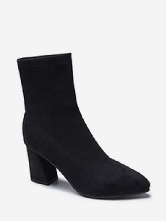 latest Solid Color Suede High Heel Fleece Boots - BLACK EU 38