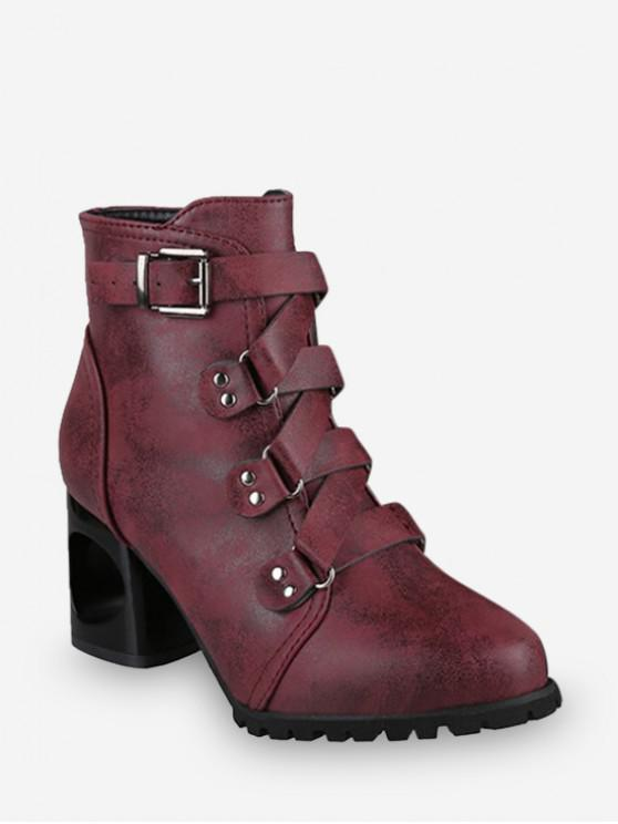 ladies Criss-cross Buckle Strap High Heel Ankle Boots - RED WINE EU 39