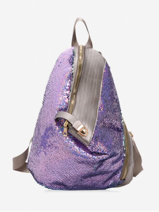 new Glitter PU Leather Trim Sequins Backpack - MAUVE
