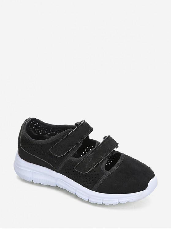 shop Hook Loop Hollow Out Outdoor Sneakers - BLACK EU 37