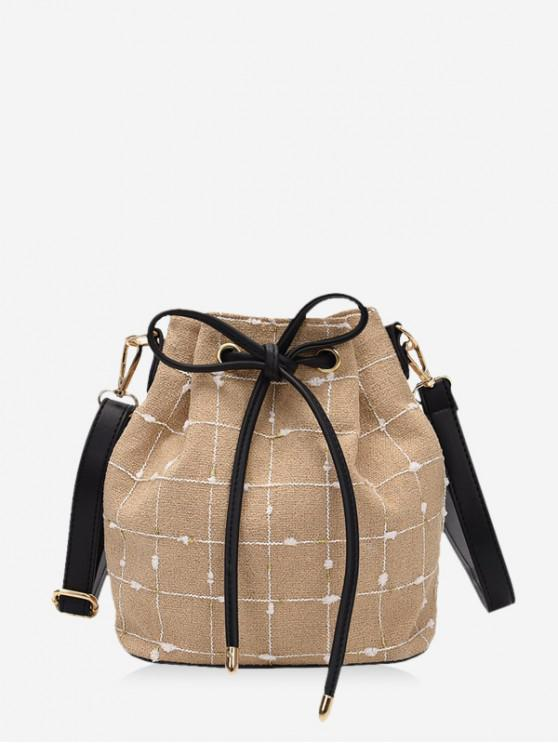 outfits Grid Print Canvas Drawstring Bucket Bag - LIGHT KHAKI