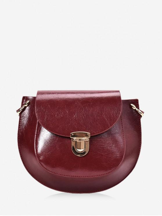 unique Solid Color PU Leather Saddle Crossbody Bag - RED WINE
