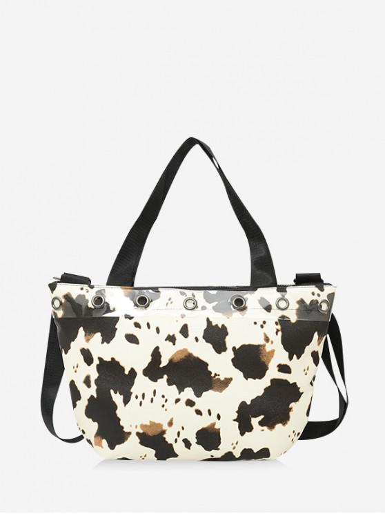 sale Cow Print Large Capacity PU Leather Handbag - MILK WHITE