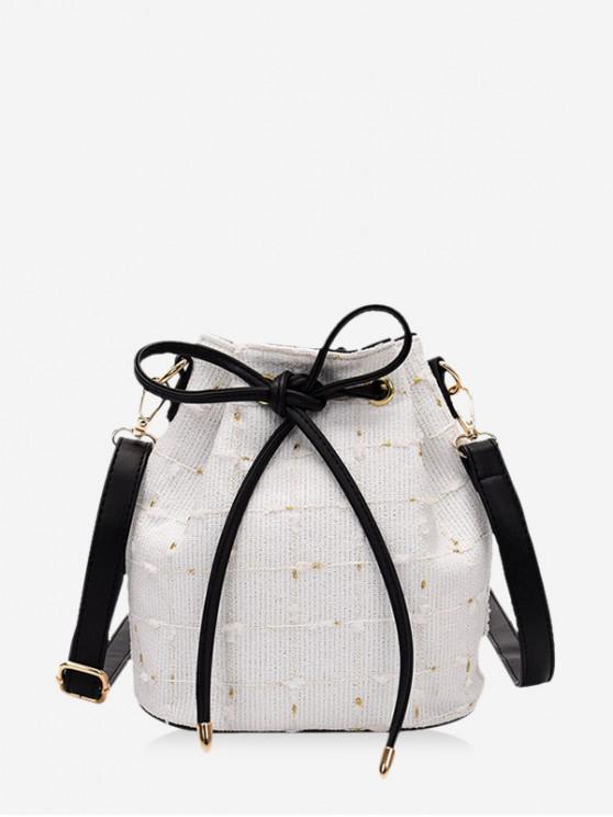 women Grid Print Canvas Drawstring Bucket Bag - MILK WHITE