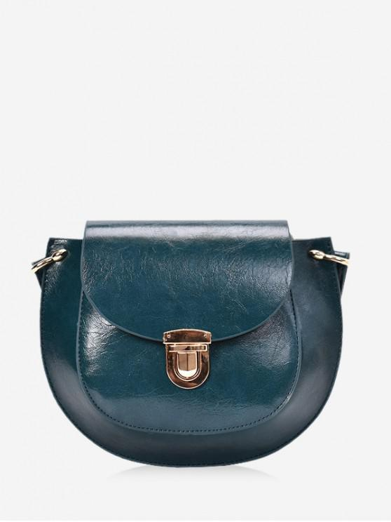 lady Solid Color PU Leather Saddle Crossbody Bag - PEACOCK BLUE