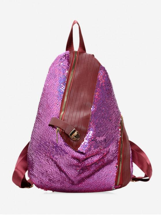 online Sparkle PU Leather Trim Flip Sequin Backpack - ROSE RED
