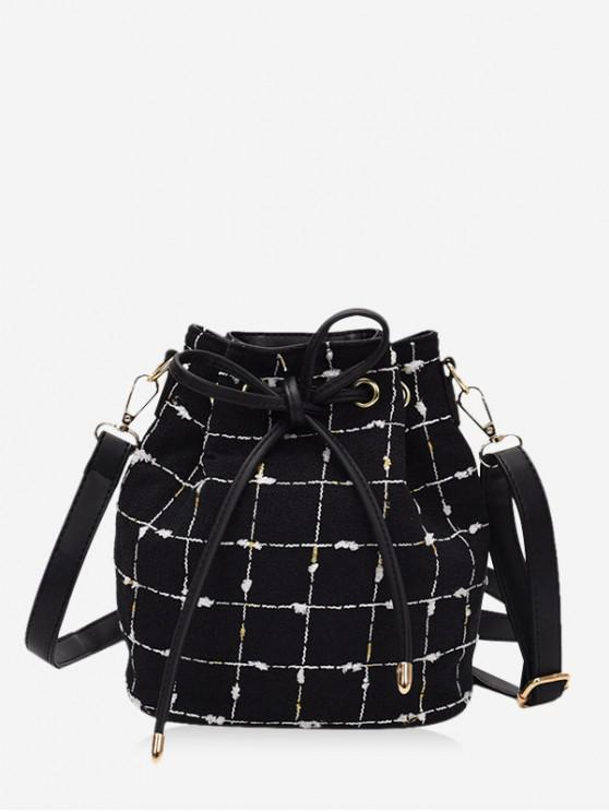outfit Grid Print Canvas Drawstring Bucket Bag - BLACK