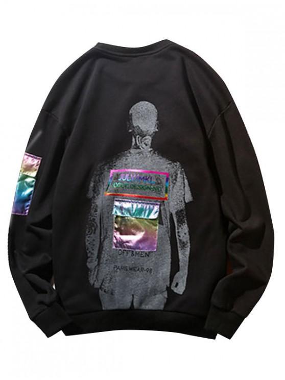 chic Laser Pocket Printed Patched Sweatshirt - BLACK S