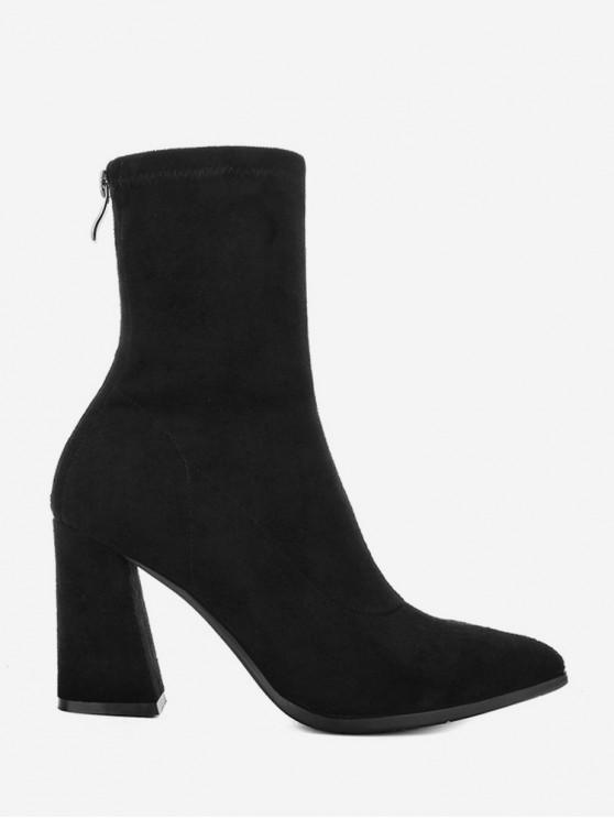 womens Pointed Toe Chunky Heel Mid Calf Boots - BLACK EU 35