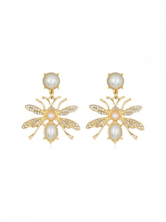 hot Rhinestone Faux Pearl Butterfly Earrings - GOLD
