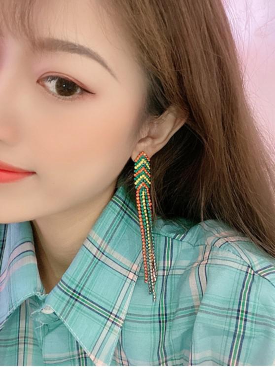 outfit Ethnic Longline Tassel Stud Earrings - MULTI