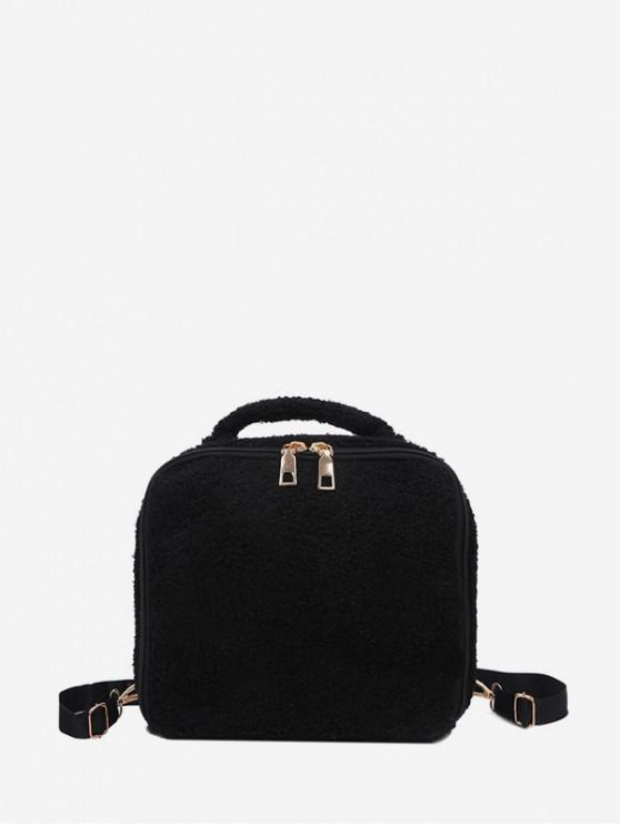 outfits Faux Fur Mini Square Backpack - BLACK