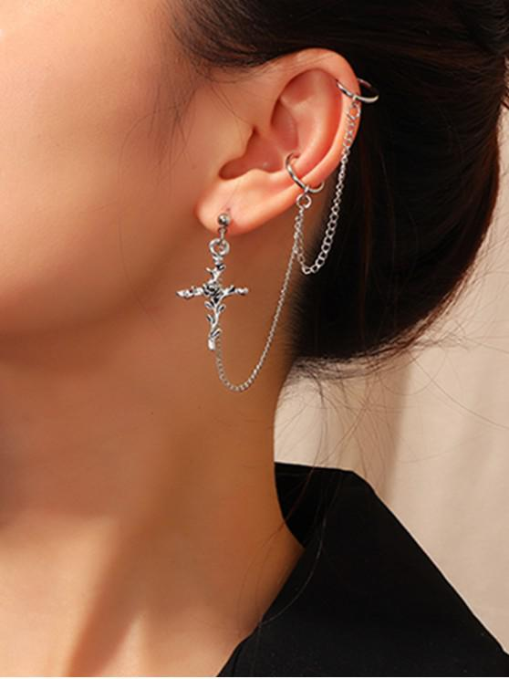 chic Rose Cross Chain Ear Cuff - SILVER