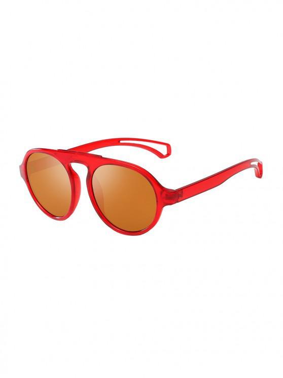 fancy Oversized Round Unisex Sunglasses - RED