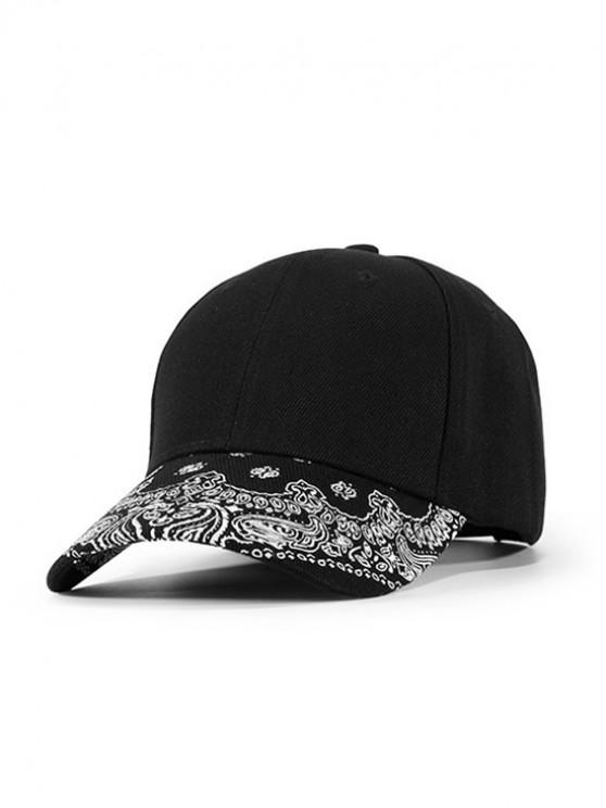 womens Paisley Printed Sports Baseball Cap - BLACK