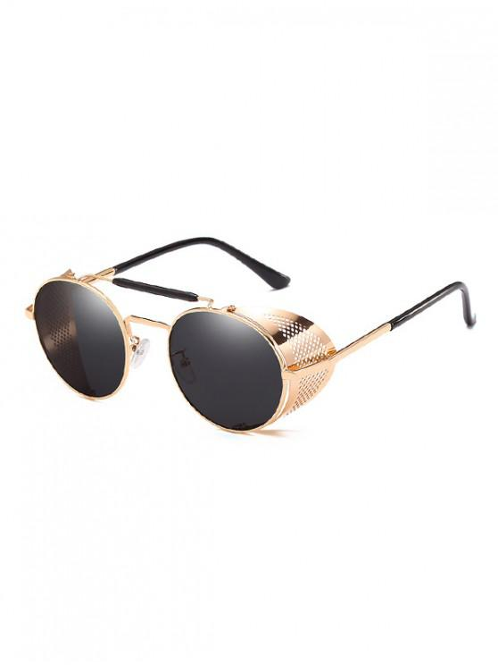 best Round Wrap Hollow Metal Sunglasses - MIRROR BLACK
