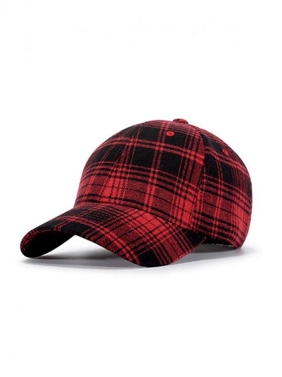 womens Plaid Pattern Sports Baseball Cap - RED WINE