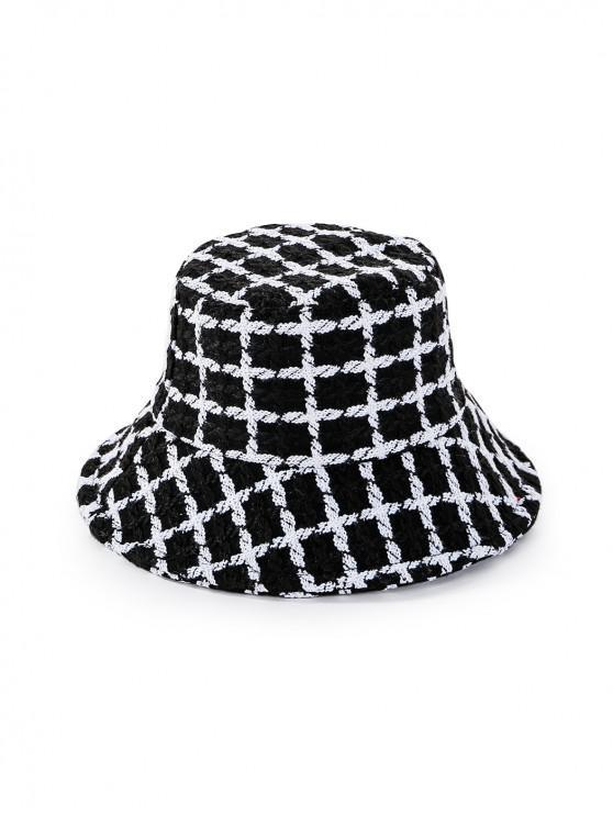 outfits Round Plaid Floppy Bucket Hat - BLACK