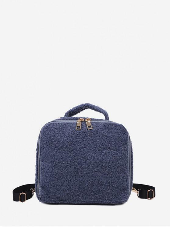 fancy Faux Fur Mini Square Backpack - SILK BLUE
