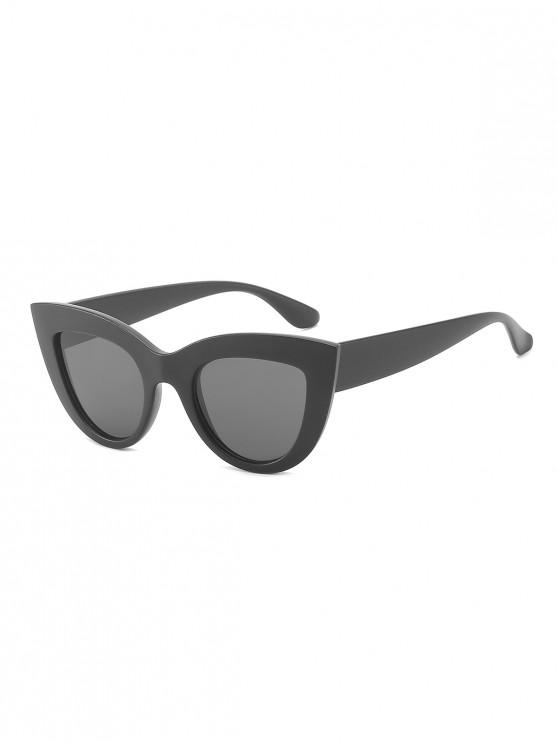 fancy Wide Frame Catty Eye Sunglasses - BLACK