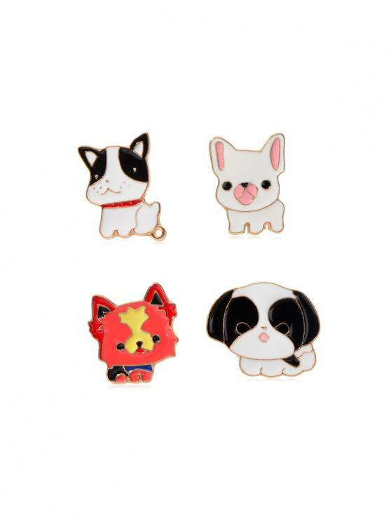 affordable 4Pcs Cartoon Puppy Brooch Set - MULTI-A