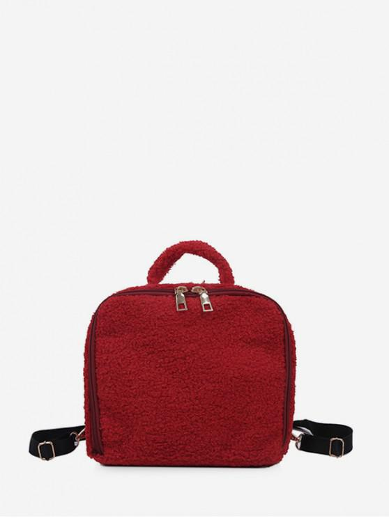 women's Faux Fur Mini Square Backpack - RED WINE