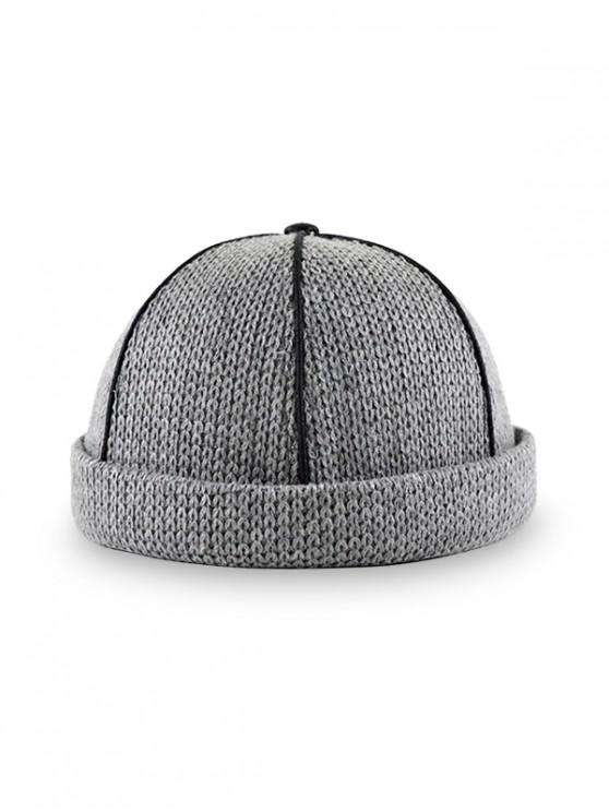 women Adjustable Knitted Solid Dome Hat - DARK GRAY