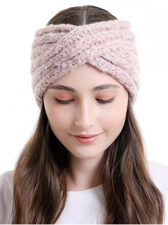 best Cross Knitted Wide Elastic Headband - LIGHT PINK