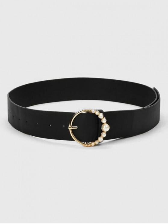 Cinturón de Hebilla Redonda de Perla Artificial - Negro