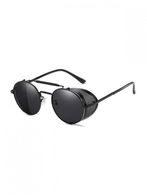 new Round Wrap Hollow Metal Sunglasses - BLACK