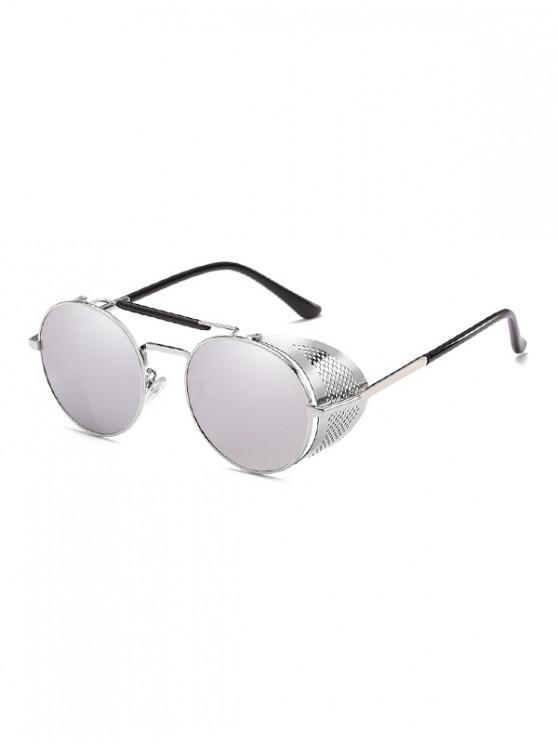 outfit Round Wrap Hollow Metal Sunglasses - PLATINUM
