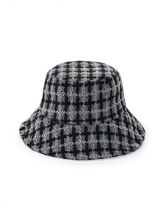 shops Round Plaid Floppy Bucket Hat - GRAY