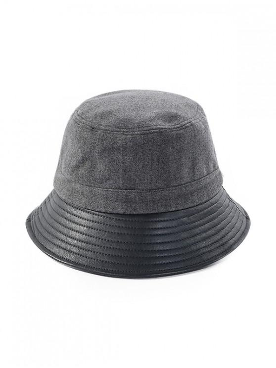 affordable Felt Patchwork Solid Bucket Hat - GRAY