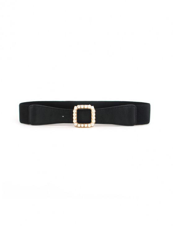 online Square Buckle Faux Pearl Elastic Belt - BLACK