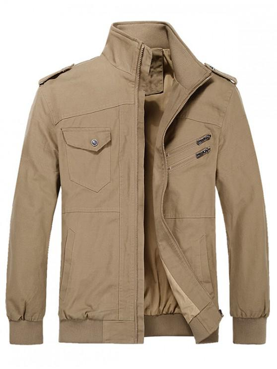 shop Solid Color Pocket Decoration Zip Up Jacket - CAMEL BROWN XL