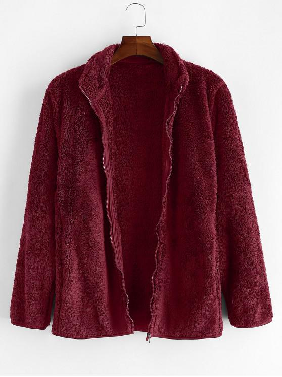 fancy Solid Faux Fur Fuzzy Zip Up Stand Collar Jacket - FIREBRICK XS