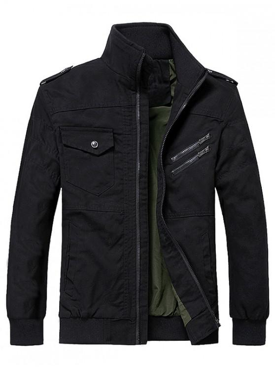 fashion Solid Color Pocket Decoration Zip Up Jacket - BLACK 2XL