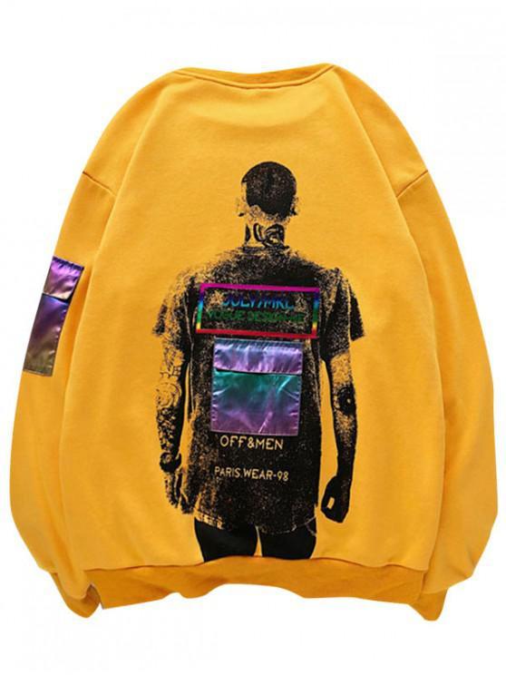 affordable Laser Pocket Printed Patched Sweatshirt - GOLDEN BROWN L