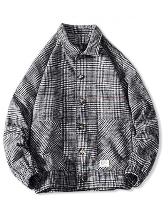 shops Embroidery Plaid Button Coat - CADETBLUE 3XL