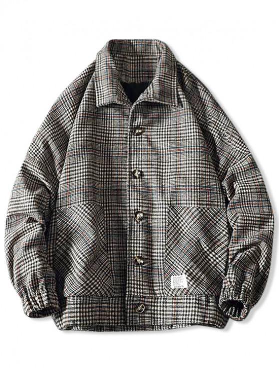 trendy Embroidery Plaid Button Coat - KHAKI 3XL